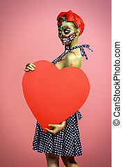 zombie with red heart - Portrait of a pin-up zombie woman...