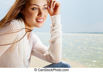 Summer on seaside - Image of serene girl enjoying life on...