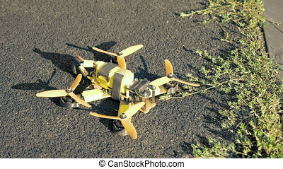Handmade FPV drone taking off and flying away - Modern...