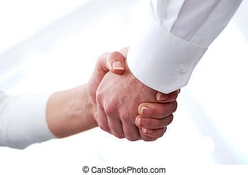 Signing contract - Image of handshaking of business partners...