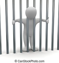 Jailed man in cell 3d rendered illustration