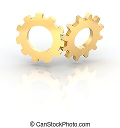 Two golden shiny cogwheels 3d rendered illustration