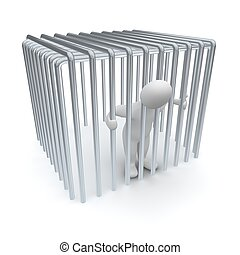 Jailed man in cage. 3d rendered illustration.