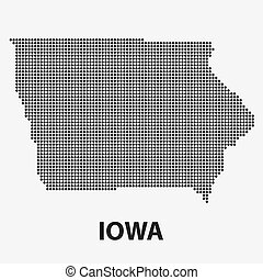 Dotted map of the State Iowa. Vector illustration. - Dotted...
