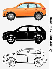 Off-road vehicle in three different styles: orange, black...