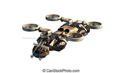 3d Helicopter drone - 3D rendering of helicopter drone or...