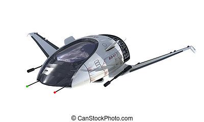 Futuristic military spacecraft - 3D Illustration of...