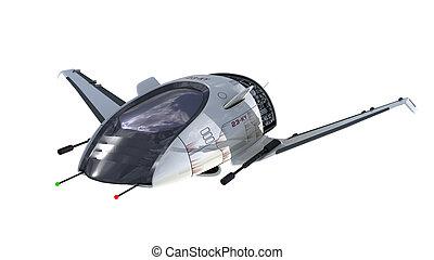 Futuristic military spacecraft - 3D Illustration of...