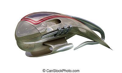 Futuristic military drone design - 3D Illustration of...
