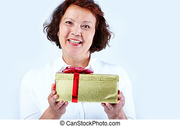 Congratulations! - Portrait of middle-aged female looking at...