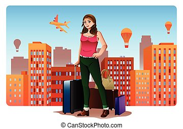 Young Woman Traveling Around The World Concept - A vector...