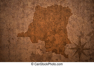 democratic republic of the congo map on a old vintage crack...