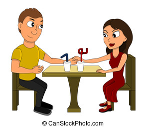 Young couple on a date cartoon