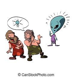 Two cavemen making fun of an alien - Colorful cartoon...