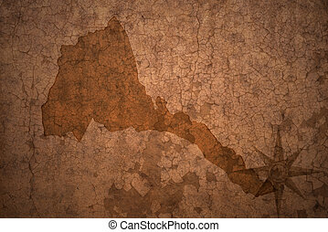 eritrea map on a old vintage crack paper background