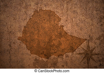 ethiopia map on a old vintage crack paper background