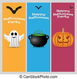 Invitation to a Halloween party. Vertical banner card set...