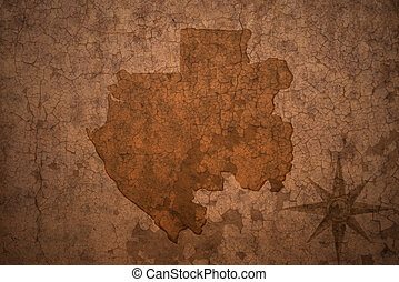 gabon map on a old vintage crack paper background
