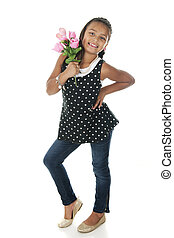 Sassy with Roses - A pretty elementary girl looking sassy as...