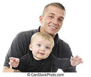 Proud Young Daddy and Son - Close-up image of a happy young...