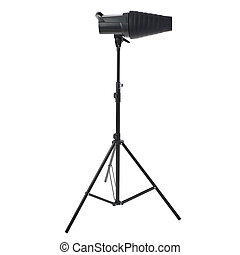 Studio flash on a stand over isolated white background -...