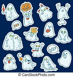 Halloween set of stickers  ghosts
