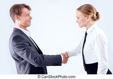 Great deal - Photo of successful business partners...