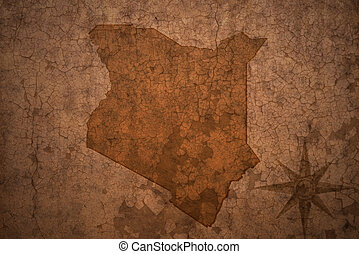 kenya map on a old vintage crack paper background