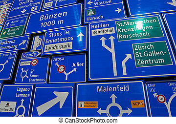 Road Signs Collection under sunlight - Road Signs with...