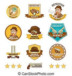 Detective Agency Emblems - Detective agency emblems with...