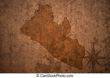 liberia map on a old vintage crack paper background