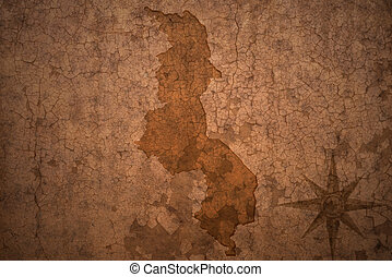 malawi map on a old vintage crack paper background