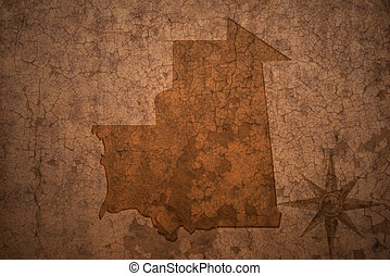 mauritania map on a old vintage crack paper background