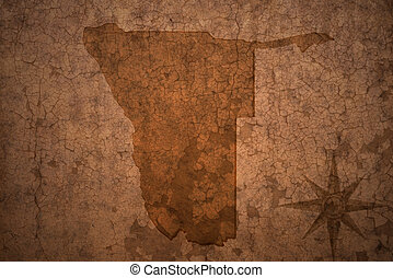 namibia map on a old vintage crack paper background