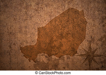 niger map on a old vintage crack paper background