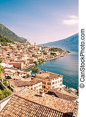 Panorama of Limone sul Garda, lake Garda, Italy - Panorama...