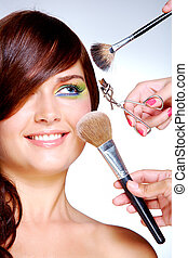 At beauticians - Close-up of young gorgeous female visiting...
