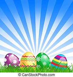 many color easter eggs over blue background