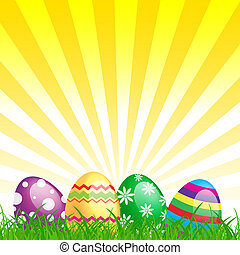 many color easter eggs over yellow background