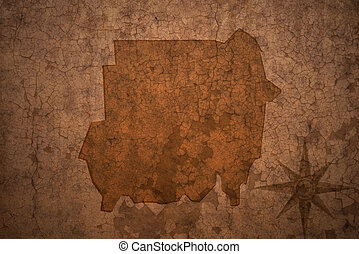 sudan map on a old vintage crack paper background