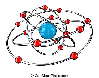 Atom - Illustration of atom with rotating around electrons