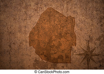 swaziland map on a old vintage crack paper background