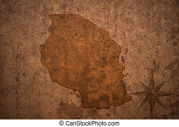 tanzania map on a old vintage crack paper background