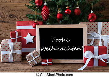 Colorful Tree, Frohe Weihnachten Means Merry Christmas -...