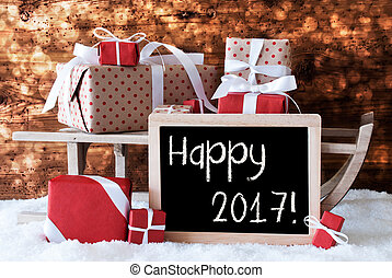 Sleigh With Gifts, Snow, Bokeh, Text Happy 2017 - Sled With...