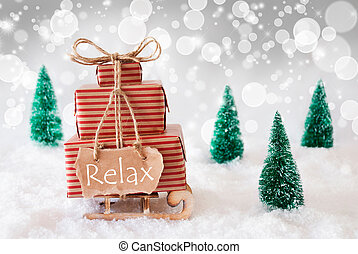 Christmas Sleigh On White Background, Relax - Sleigh Or Sled...