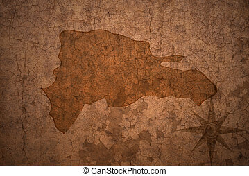 dominican republic map on a old vintage crack paper...