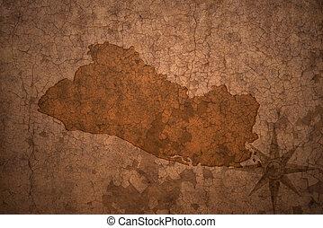 el salvador map on a old vintage crack paper background
