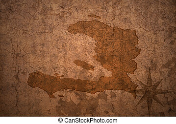 haiti map on a old vintage crack paper background