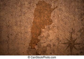 argentina map on a old vintage crack paper background